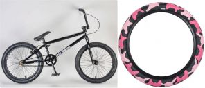 Custom Kush1 Black with Pink Tyres - complete Mafia BMX Bike